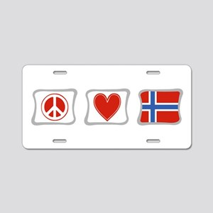 Peace, Love and Norway Aluminum License Plate