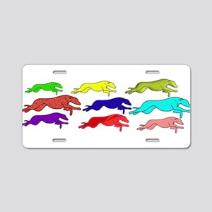 The Greyhound outline (in man Aluminum License Pla