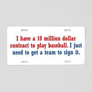 Baseball Contract Aluminum License Plate