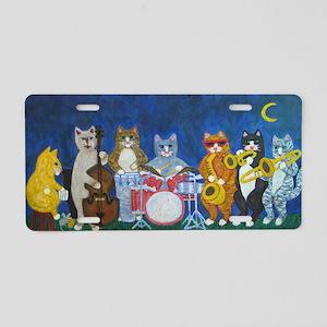 Salsa Cats at Night Aluminum License Plate