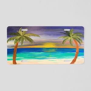Tropical Beach Sunset Aluminum License Plate