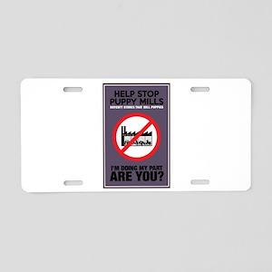 Stop Puppy Mills Aluminum License Plate