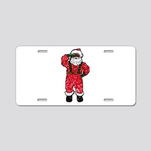 glitter black santa claus Aluminum License Plate