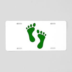 Green Feet Aluminum License Plate