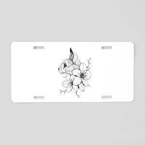 Sphynx Cat and Sakura Aluminum License Plate
