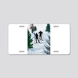 Two Cross Country Skiers in Aluminum License Plate