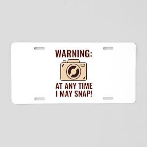 I May Snap Aluminum License Plate
