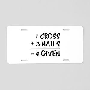 One Cross Plus Three Nails Aluminum License Plate