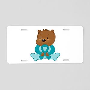 Teal Awareness Bear Aluminum License Plate