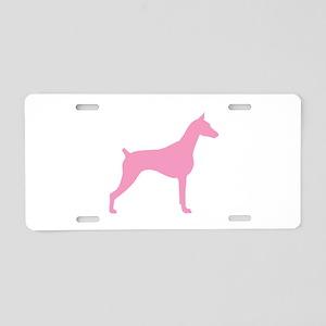 Pink Doberman Aluminum License Plate