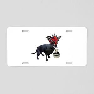 Dog in Mask Aluminum License Plate