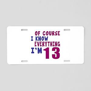 I Know Everythig I Am 13 Aluminum License Plate