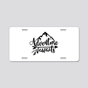 Adventure Awaits Aluminum License Plate