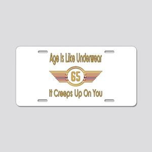 Funny 65th Birthday Aluminum License Plate