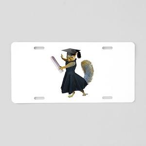 Girl Squirrel Grad Aluminum License Plate