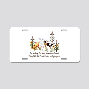 Pythagoras Vegetarian Quote Aluminum License Plate