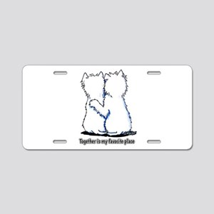 Hugging Westies Aluminum License Plate