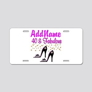 GLAMOROUS 40TH Aluminum License Plate