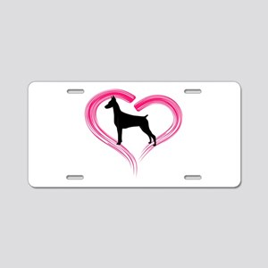 Heart My Doberman Aluminum License Plate