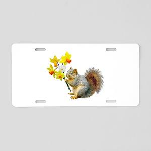 Squirrel Daffodils Aluminum License Plate