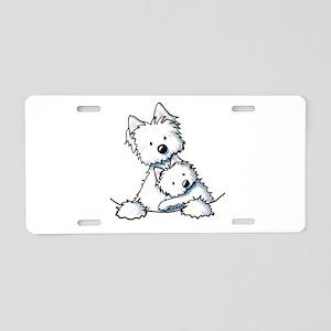 Westie Hug Aluminum License Plate