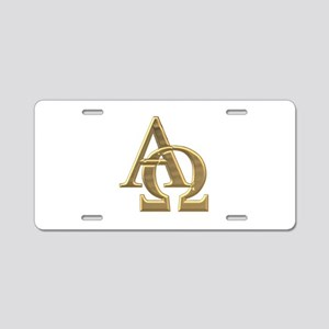 """3-D"" Golden Alpha and Omega Symbol Aluminum Licen"