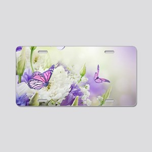 Flowers and Butterflies Aluminum License Plate