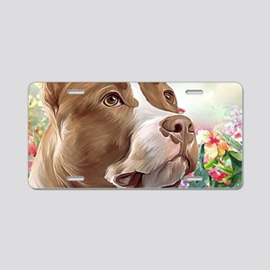 Pit Bull Painting Aluminum License Plate