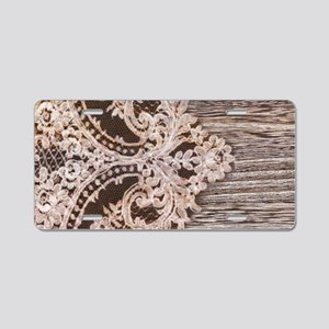 rustic wood lace Aluminum License Plate
