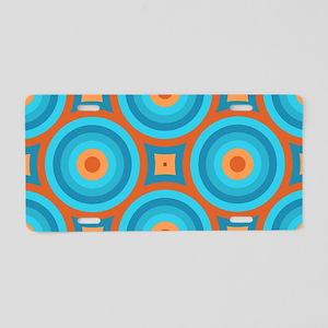 Orange and Blue Mid Century Modern Aluminum Licens