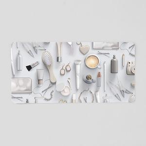 White Vanity Table Aluminum License Plate