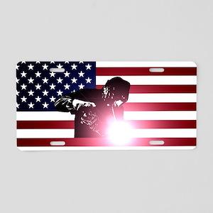 Welding: Welder & American Flag Aluminum License P