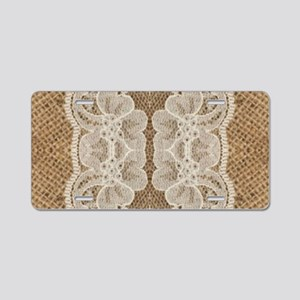 shabby chic burlap lace Aluminum License Plate