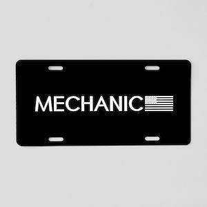 Mechanic: American Flag (Wh Aluminum License Plate