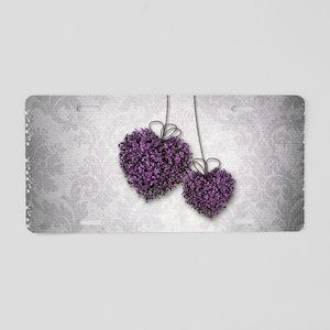 Purple Hearts Aluminum License Plate