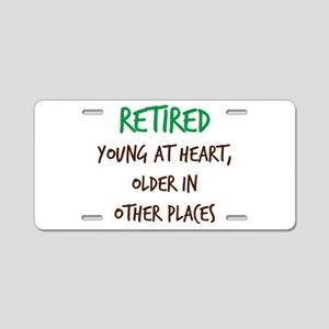 Retired, Young at Heart Aluminum License Plate