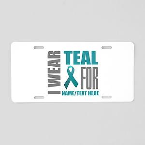 Teal Awareness Ribbon Custo Aluminum License Plate