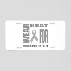 Gray Awareness Ribbon Custo Aluminum License Plate