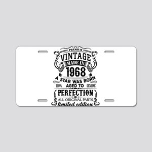 Vintage 1968 Aluminum License Plate