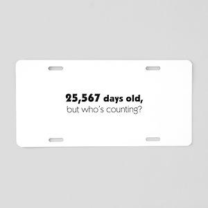 70th Birthday Aluminum License Plate