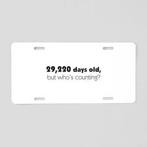 80th Birthday Aluminum License Plate