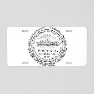 Vintage Boston Seal Aluminum License Plate