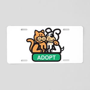 adopt animals Aluminum License Plate