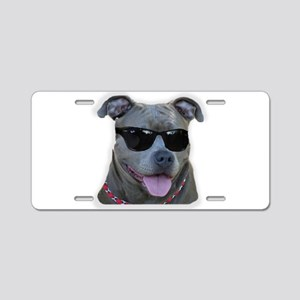 Pitbull in sunglasses Aluminum License Plate