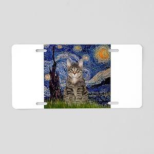 Starry Night & Tiger Cat Aluminum License Plate
