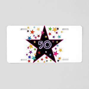 50th! Festive, Birthday, Anniversary! Aluminum Lic