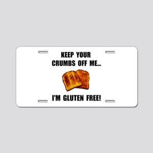 Crumbs Off Me Gluten Free Aluminum License Plate