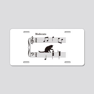Cat Toying with Note v.2 Aluminum License Plate