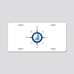 Sailboat And Blue Compass Aluminum License Plate