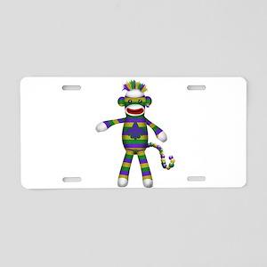 Mardi Gras Sock Monkey Aluminum License Plate